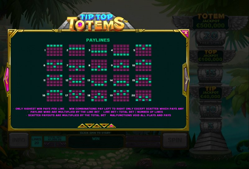 Tip Top Totems :: Paylines 1-20