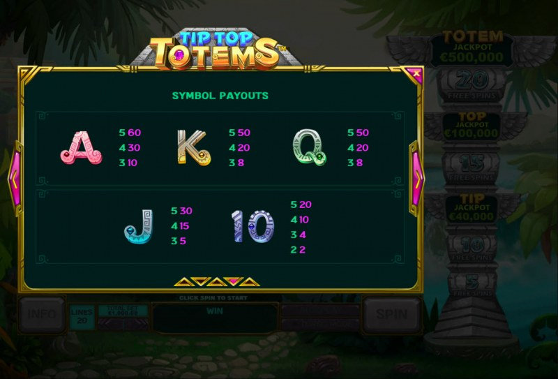 Tip Top Totems :: Paytable - Low Value Symbols