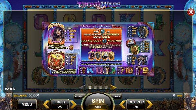 Tiponi's Wilds :: Paytable