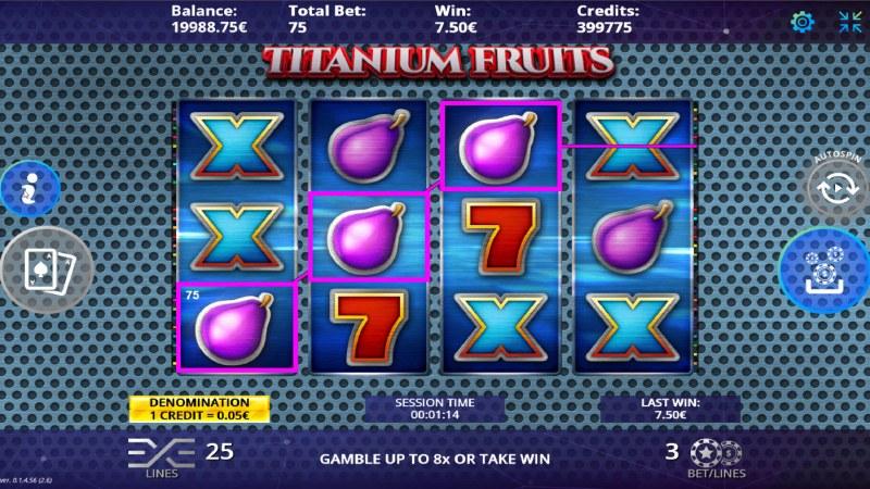 Titanium Fruits :: A three of a kind win