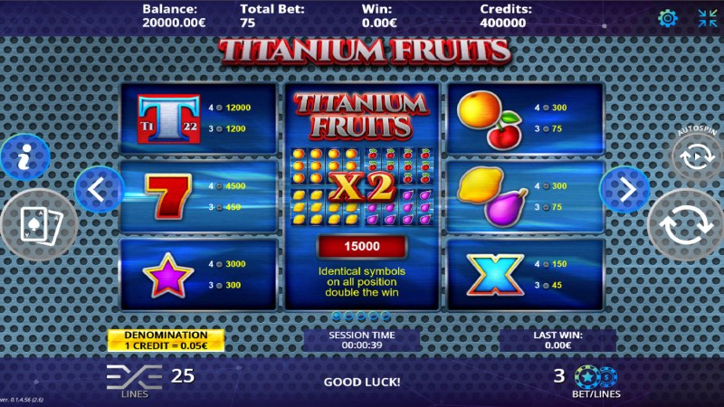 Titanium Fruits :: Paytable