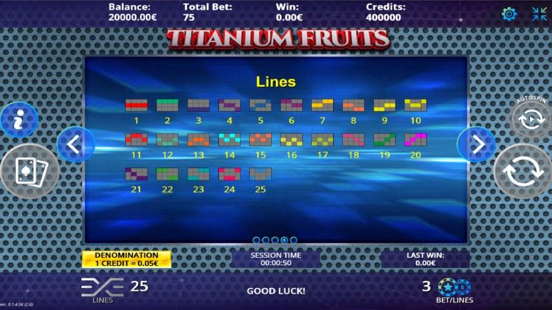 Titanium Fruits :: Paylines 1-25