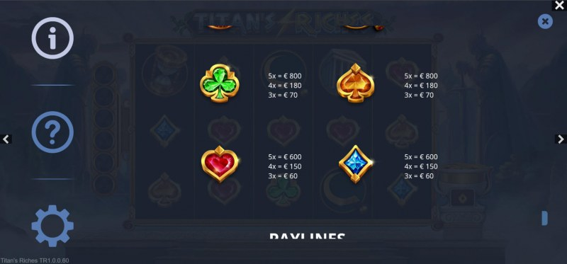 Titan's Riches :: Paytable - Low Value Symbols