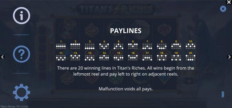 Titan's Riches :: Paylines 1-20
