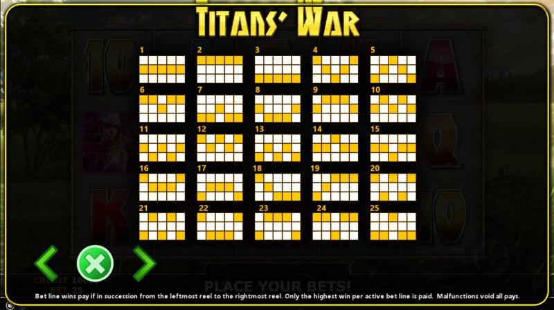 Titan's War :: Paylines 1-25