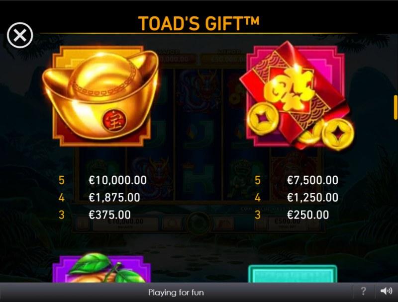 Toad's Gift :: Paytable - Medium Value Symbols