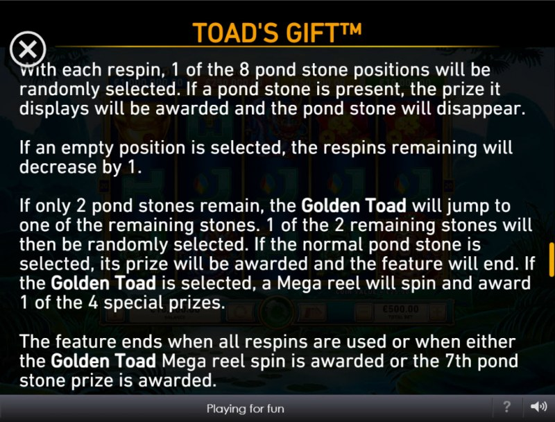 Toad's Gift :: Feature Rules