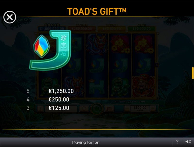 Toad's Gift :: Paytable - Low Value Symbols