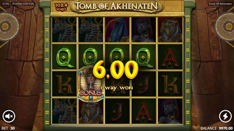 Tomb of Akhenaten :: A four of a kind win