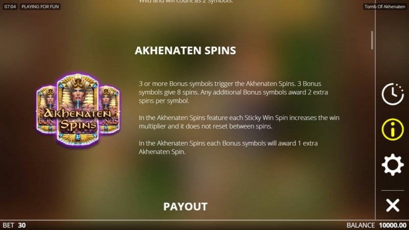 Tomb of Akhenaten :: Free Spin Feature Rules