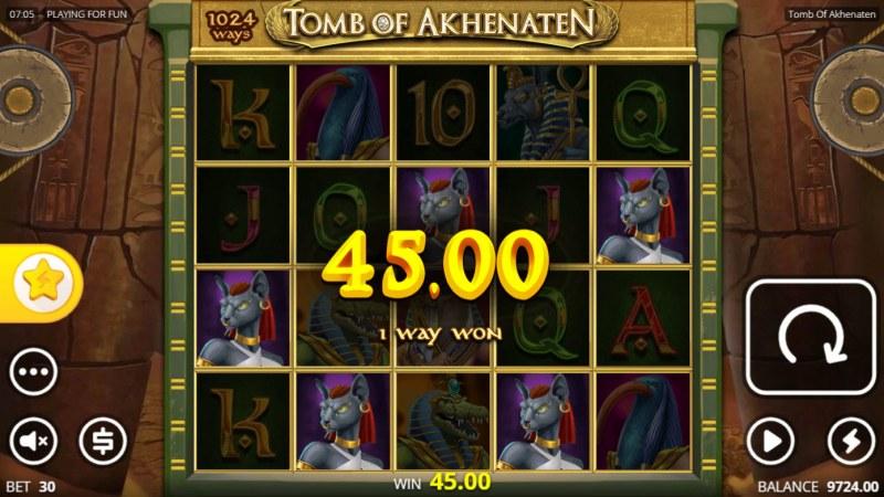 Tomb of Akhenaten :: A five of a kind win