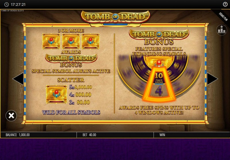 Tomb of Dead Power 4 Slots :: Feature Rules
