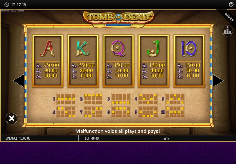 Tomb of Dead Power 4 Slots :: Paytable - Low Value Symbols