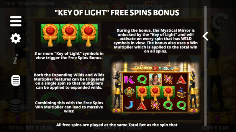 Tomb of Mirrors :: Free Spins Rules