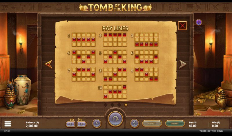 Tomb of the King :: Paylines 1-10