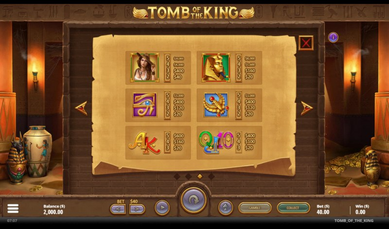 Tomb of the King :: Paytable