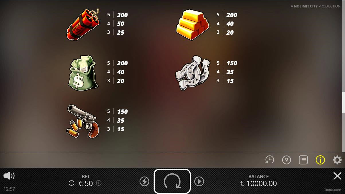 Tombstone :: Paytable - High Value Symbols