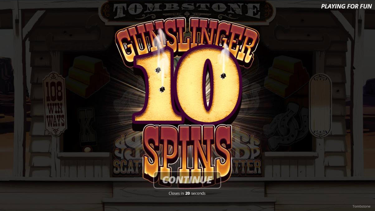 Tombstone :: 10 free spins awarded