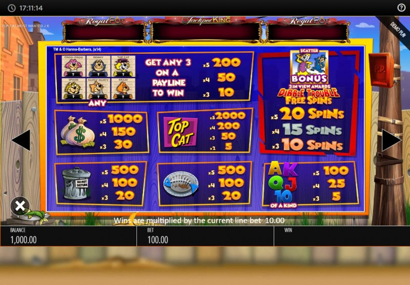 Top Cat Most Wanted :: Paytable