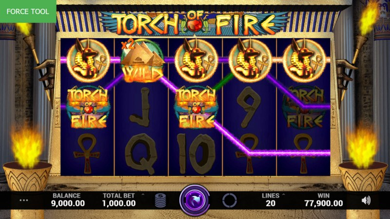 Torch of Fire :: Multiple winning paylines leads to a super win