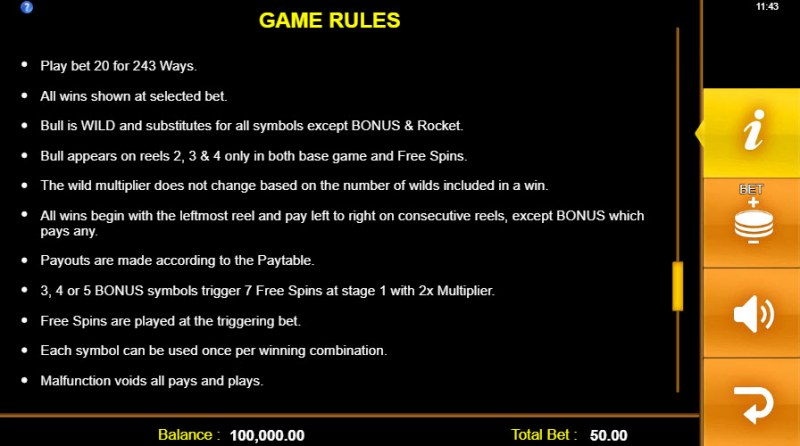 Toro Rockets :: General Game Rules