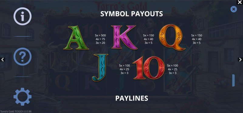Torro's Gold :: Paytable - Low Value Symbols