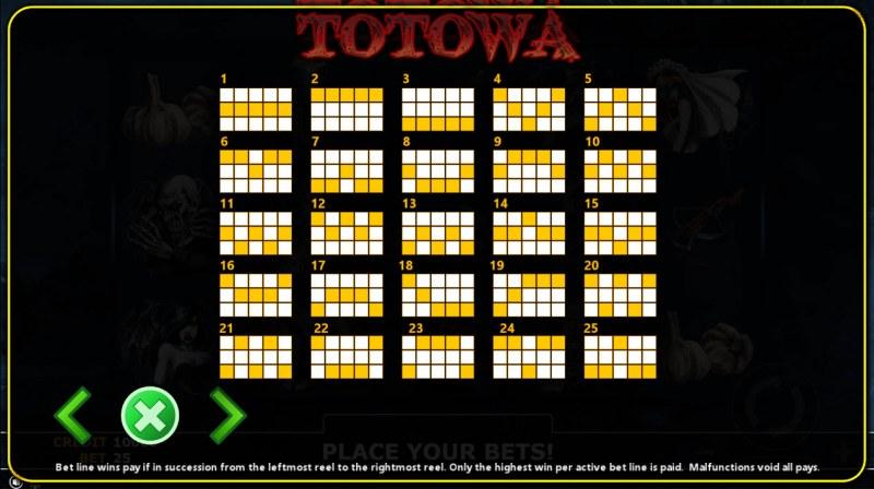 Totowa :: Paylines 1-25