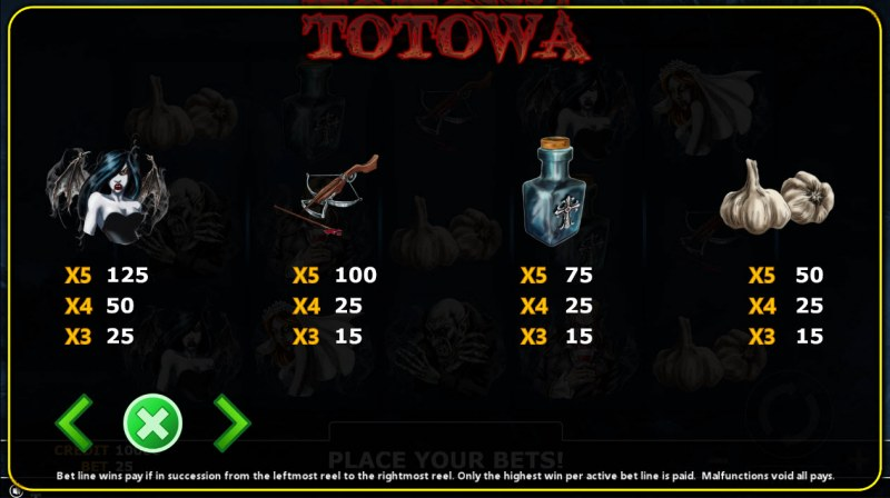 Totowa :: Paytable - Low Value Symbols