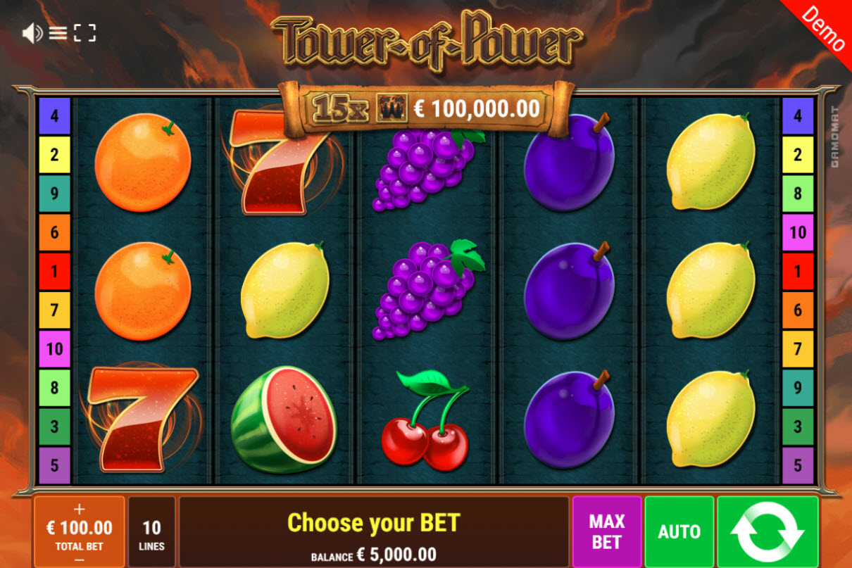 Play slots at Slottica: Slottica featuring the Video Slots Tower of Power with a maximum payout of $100,000
