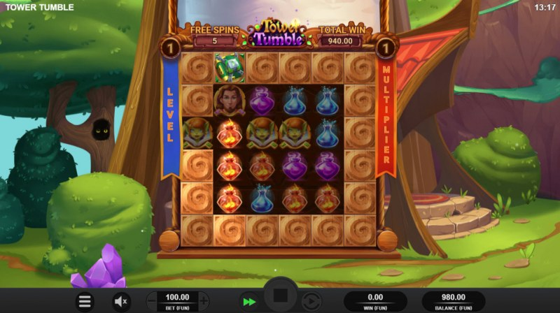 Tower Tumble :: Free Spins Game Board