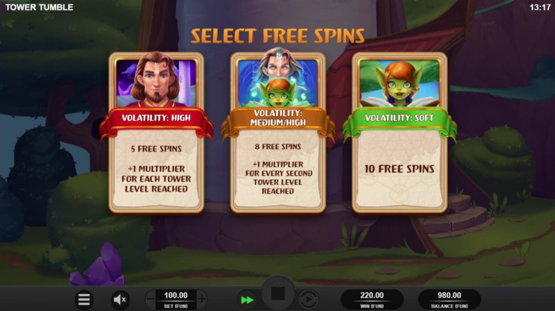 Tower Tumble :: Select Free Spins Option