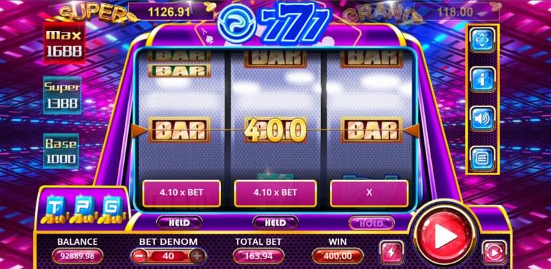 TPG 777 Slot :: A three of a kind win