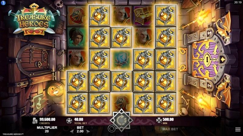 Treasure Heroes :: Multiple winning clusters lead to a big win