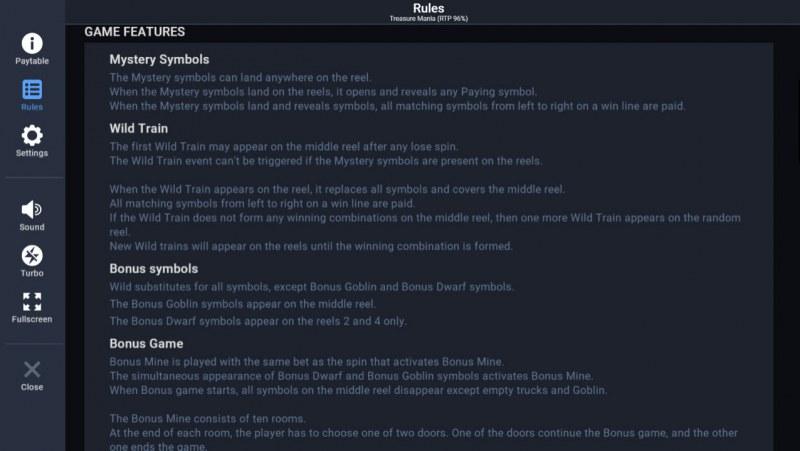 Treasure Mania :: Feature Rules