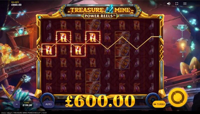Treasure Mine Power Reels :: A four of a kind win