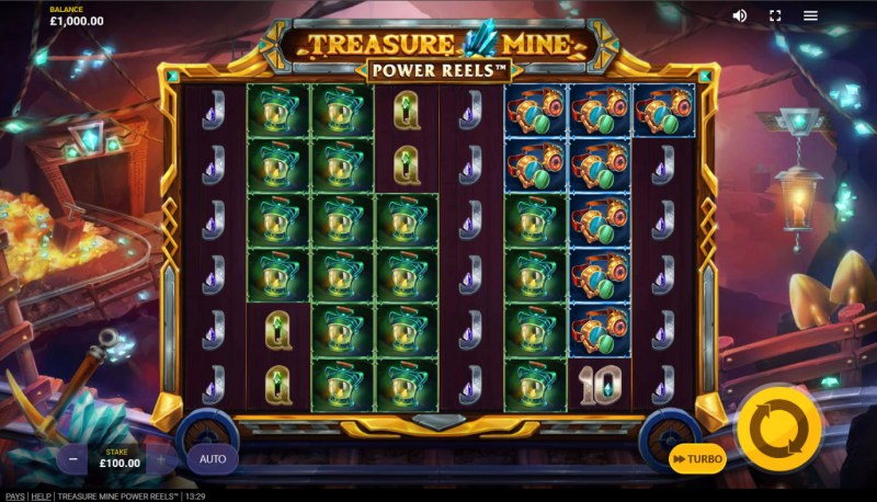Treasure Mine Power Reels :: Base Game Screen