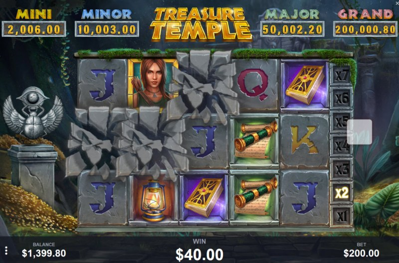 Treasure Temple :: Winning symbols are removed from the reels and new symbols drop in place