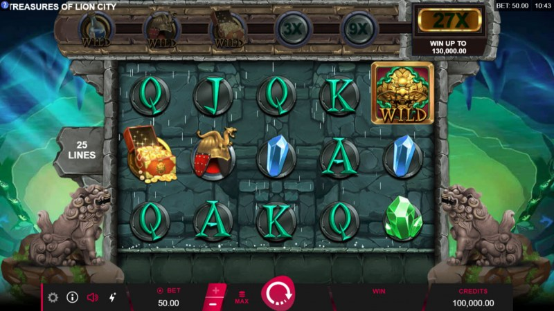 Play slots at Casino Action: Casino Action featuring the Video Slots Treasures of Lion City with a maximum payout of $130,000