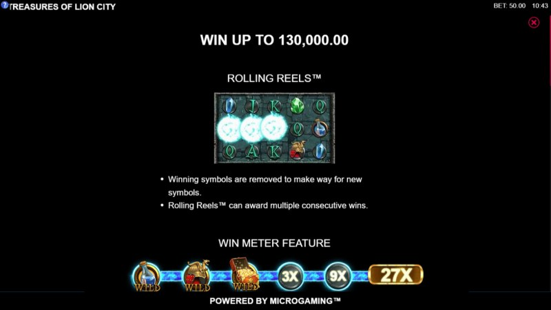 Play slots at Vegas Winner: Vegas Winner featuring the Video Slots Treasures of Lion City with a maximum payout of $130,000
