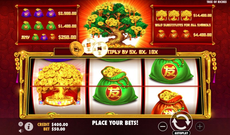 Tree of Riches :: Collect coins when tree symbol lands on the reels