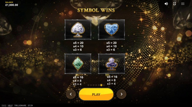 Trillionaire :: Paytable - Low Value Symbols