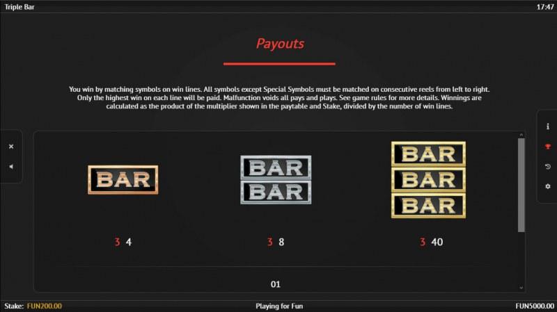 Triple Bar :: Paytable