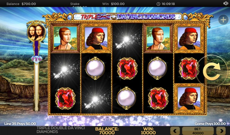 Triple Double Da Vinci Diamonds :: Winning symbols are removed from the reels and new symbols drop in place