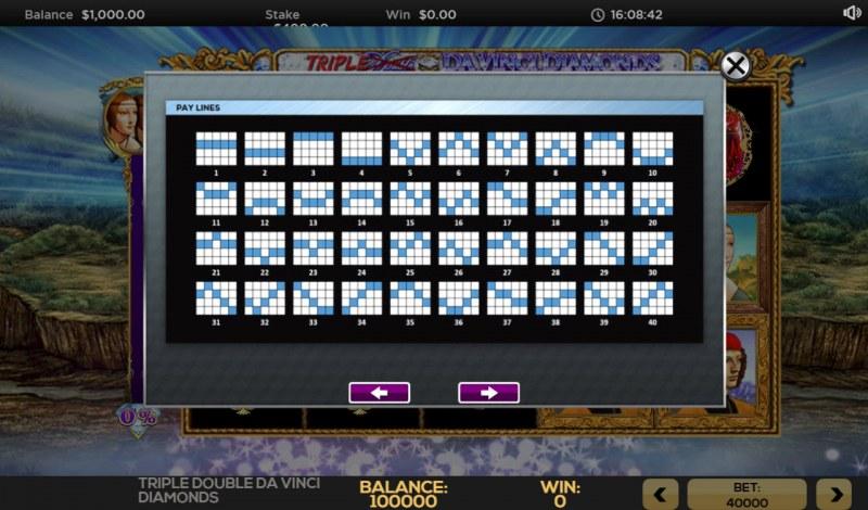 Triple Double Da Vinci Diamonds :: Paylines 1-40