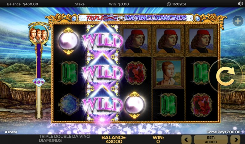 Triple Double Da Vinci Diamonds :: Stacked wilds triggers a 3 of a kind