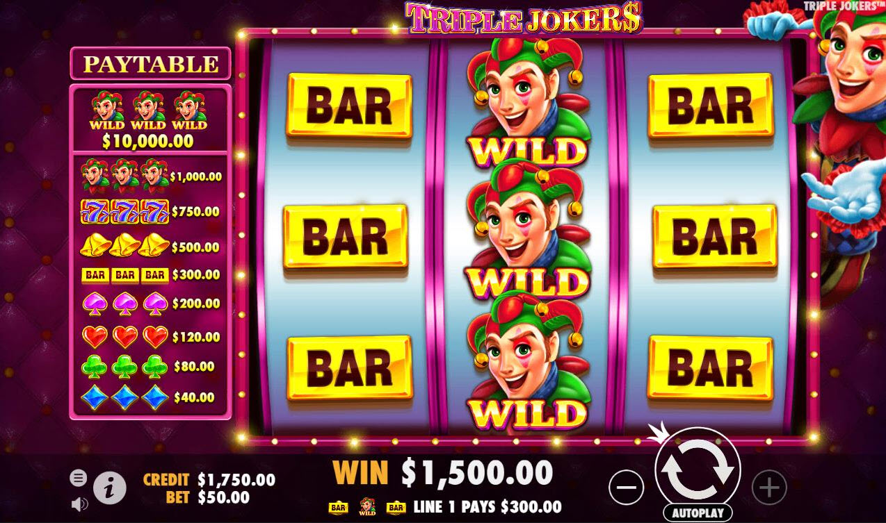 Triple Jokers :: Multiple Winning Paylines triggers a big win