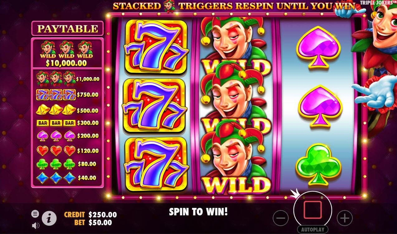 Triple Jokers :: Stacked wilds triggers respin feature