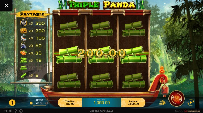 Triple Panda :: Stacked symbols on reels 1-3 leads to a bigwin