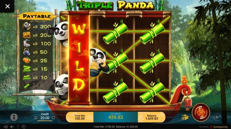 Triple Panda :: Stacked wild symbols triggers multiple winning paylines