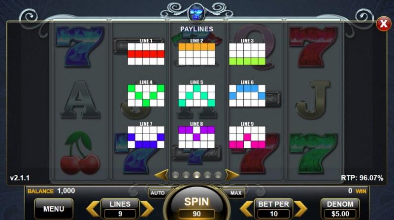 Triple Sapphire Sevens :: Paylines 1-9
